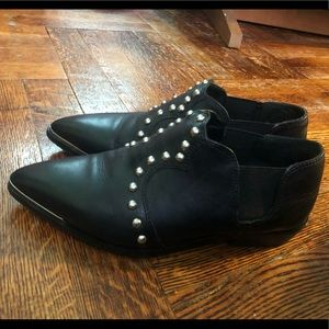 Diesel pointed toe studded leather boots.